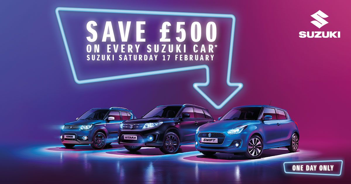 Save an extra £500 when you purchase on Suzuki Saturday - 17th February 2018